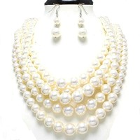 Simple Statement Layered Strands Cream Pearl Beads Silver Chain Necklace Earrings Set Bridesmaid Gift