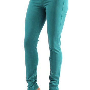 Womens Fashion Runaway Mid Rise Skinny Stretch Jeans Teal