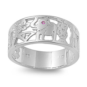 925 Sterling Silver CZ Lucky Elephant Simulated Ruby Ring 8MM