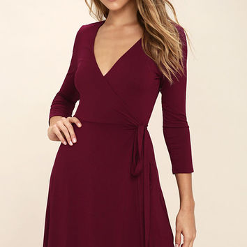 Twirl-Worthy Burgundy Wrap Dress