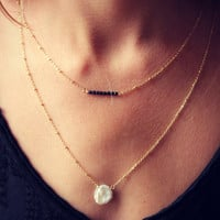 Freshwater pearl on a 14k gold fill chain, simple gold necklace, pearl necklace