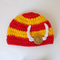 Harry Potter Hat with Golden Snitch,  Beanie Newborn Child Teen  Adult - Halloween / Cosplay / Baby Shower Gift