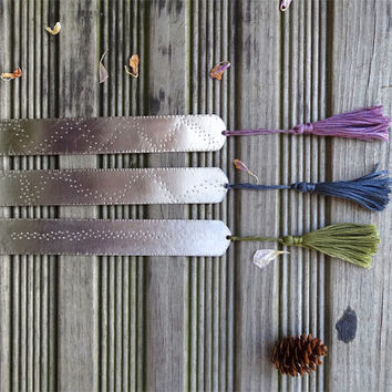 Colorful Tassel Bookmarks, set of 3 silver bookmarks, stainless steel, select 3 colors