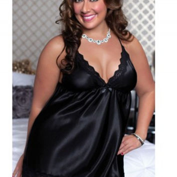Plus Size Satin Babydoll