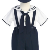 Navy Blue Nautical Suspender Shorts 4 Piece Spring Outfit & Captain Hat (Baby to Toddler Boys)