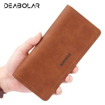 Vintage Brand Men's Soft Leather Wallets Long Male Hasp Clutch Purse Wallet with Card Holder Phone Pocket for Men