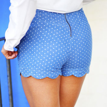 Sweetheart Scallop Shorts: Denim | Hope's