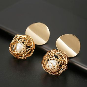 Fashion Stud Earrings For Women Golden Color Round Ball  Geometric Earrings For Party Wedding Gift Ear Jewelry