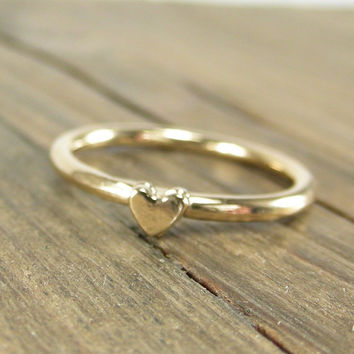 Heart Ring Gold Dipped Silver - Stacking Ring