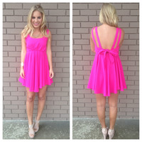 Fuschia Bow Tie Dress