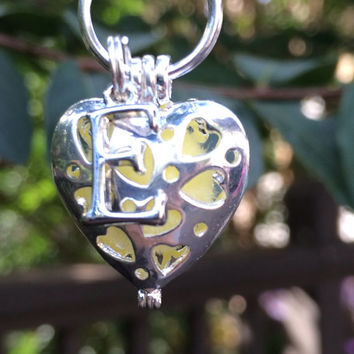 Custom Silver Heart w/ Initial Essential Oil Diffuser Locket Necklace ~ Aromatherapy Necklace ~ Perfume Necklace ~ Oil Necklace ~ EO