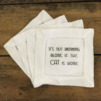 Coasters\ Napkins- Drinking alone Cat