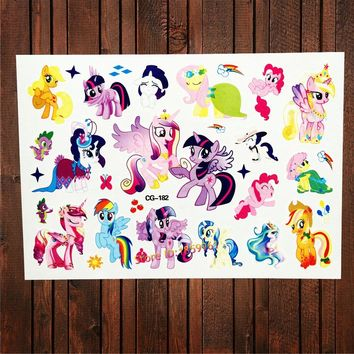 25 Style Waterproof My Little Pony Tattoo Stickers Girl Fake Flash Temporary Tattoo Paste Kids Gifts Child Tatoo Christmas Gift