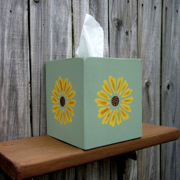Tissue Box Cover, Wooden Tissue Cover, Handmade, Sunflowers, Painted Wood, Hand Painted, Green, Yellow Flowers, Home Decor, Spring Flower