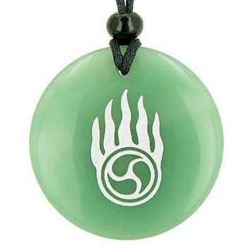 Pearl in Flames Love Druids Amulet Green Aventurine Gemstone Good Luck Powers Pendant Necklace