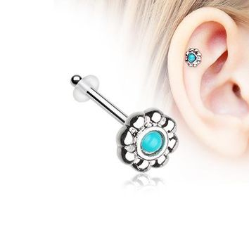 Bali Flower Turquoise Piercing Stud with O-Rings