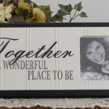 Together Is A Wonderful Place To Be - Unique Family Gift Wooden Picture Frame - Home Decor / Wall Decor Photo Frame Sign Black