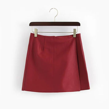 Faux Leather Zippered Skirt Shorts