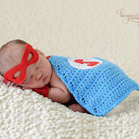 Super Hero Cape and Mask/ Newborn Superhero Prop/Baby Cape/