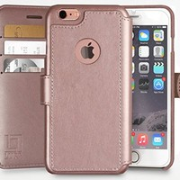 iPhone 6, 6s Wallet Case | Durable and Slim | Lightweight with Classic Design & Ultra-Strong Magnetic Closure | Faux Leather| Rose Gold | Apple 6/6s (4.7 in)