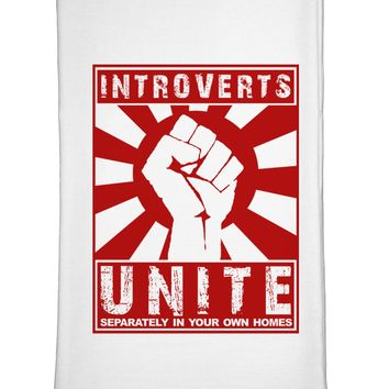 Introverts Unite Funny Flour Sack Dish Towel by TooLoud