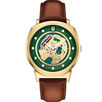 Bulova Accutron II Alpha Watch - Gold-Tone/Green Dial - Leather Strap