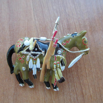 Vintage Native American horse fully dressed tribal brooch signed Topp