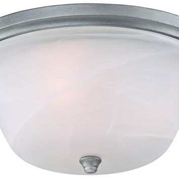 Tolbut Three-Light Indoor Flush Ceiling Fixture, Antique Silver Finish with White Alabaster Glass