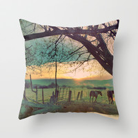 horses Throw Pillow by Jake Reedy