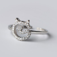 Personalized fashion zircon little cat 925 sterling silver zircon ring, a perfect gift