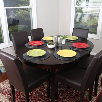 New Century® 7 Pieces Cappuccino Oval Dining Table With Brown Leather Chairs