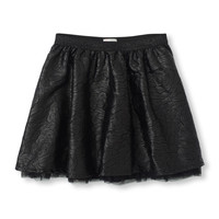 Embroidered Rose Faux-Leather Skirt | The Children's Place