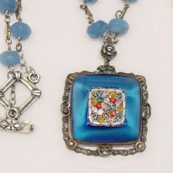 2 Vintage Mosaic Pendant, Blue Quartz beaded Necklace