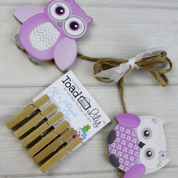 Purple and Gray Owls Wooden Girls Wall Art DISPLAY CLIPS for Kids Bedroom Baby Nursery Playroom AC0006