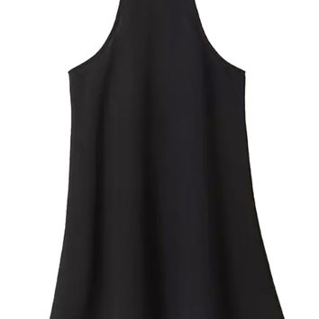 Black Strappy Cut Away Shift Dress-top