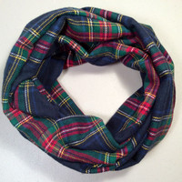 Handmade Infinity Scarf Plaid Flannel, Child, Kid Size, Double Layer.  Dark Blue, Red, Green Tartan - Christmas Holiday Gift