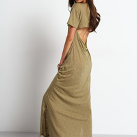 Army Green Cut Out Backless Split Maxi Dress | MakeMeChic.COM