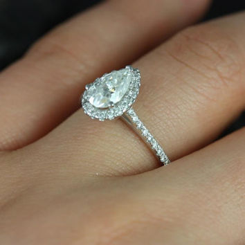 Tabitha 14kt White Gold Pear FB Moissanite and Diamonds Halo Engagement Ring (Other metals and stone options available)