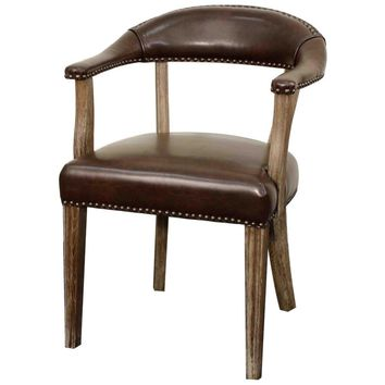 Bernadette Solid Oak Wood Dining Chair, Bonded Leather Vintage Coffee