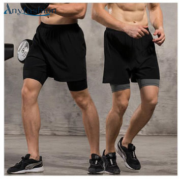 Anyfashion Running shorts 2 in 1 Mens Running Shorts with inside compression lycra boxer Fitness Men's Gym shorts