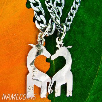 Giraffe Necklace, African Jewelry, Couples heart necklaces by Namecoins