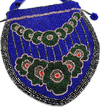 Stunning Antique Beaded Purse, Art Deco Beaded Reticule Bag, Cobalt Blue with Green Flower Pattern, 1920s-1930s