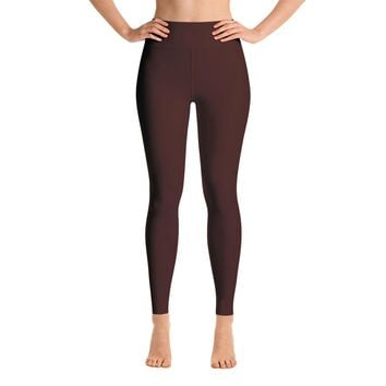 Solid Brown Yoga Leggings
