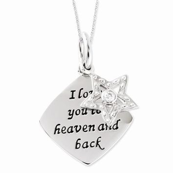 Sterling Silver Antiqued CZ I Love You To Heaven and Back Star Necklac Necklace