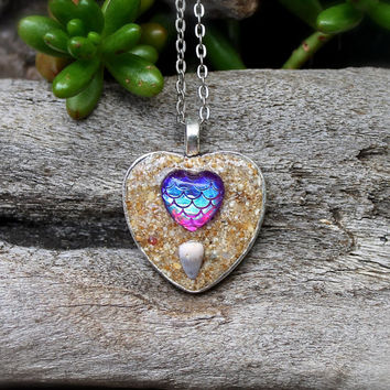 Mermaid Scale Necklace - Heart Jewelry - Ocean Inspired Necklace made in Hawaii - Mermaid Jewelry from Hawaii Sea Inspired Hawaiian Jewelry