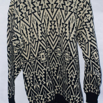 Southwestern/Aztec Printed Geometric By Terribly Sorry, Made in England Wool 80's Sweater/Pullover/Jumper. L