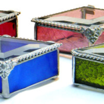 "Set of 6 Handmade Bridesmaid Gift Stained Glass Jewelry Boxes, Diamond Shape 2 X 4"" , Bridal Attendant Gift, Color Match Your Wedding,"
