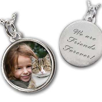 "Custom Photo Charm - Custom Photo with Engraved Message on Reverse side - NO CHAIN - MEDIUM Size (3/4"") - Sterling Silver Waterproof"