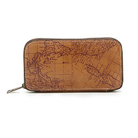 Patricia Nash Oria Map Print Zip Wallet - Rust