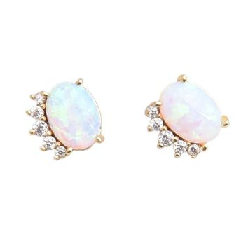 Opal Crown Earrings